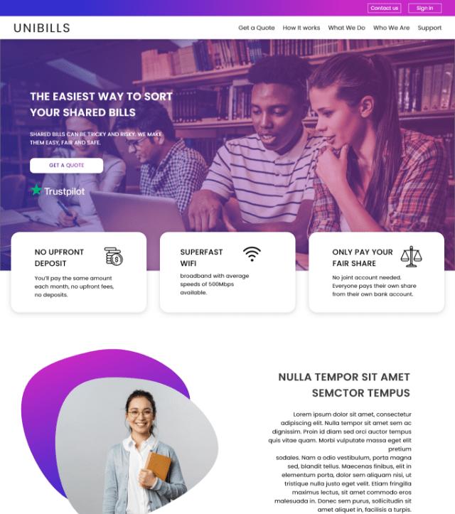 website portfolio unibills PNG
